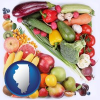 il map icon and fruits and vegetables