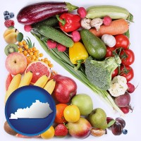 ky map icon and fruits and vegetables
