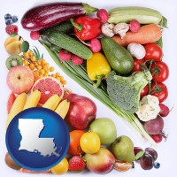 la map icon and fruits and vegetables