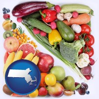 ma map icon and fruits and vegetables
