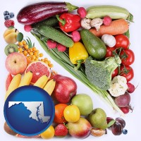 md map icon and fruits and vegetables