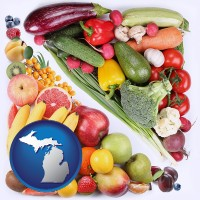 mi map icon and fruits and vegetables