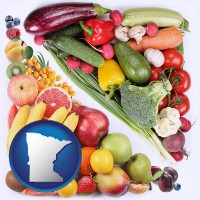 mn map icon and fruits and vegetables