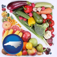 nc map icon and fruits and vegetables