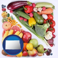 nd map icon and fruits and vegetables