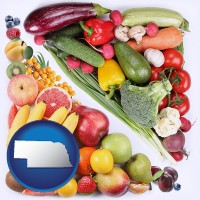 ne map icon and fruits and vegetables