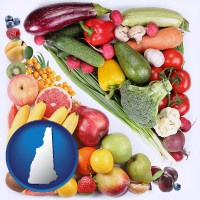 nh map icon and fruits and vegetables
