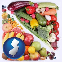 nj map icon and fruits and vegetables