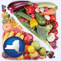 ny map icon and fruits and vegetables