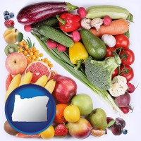 or map icon and fruits and vegetables