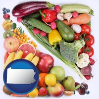 pa map icon and fruits and vegetables