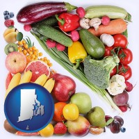 ri map icon and fruits and vegetables
