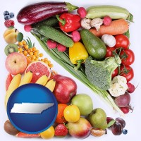 tn map icon and fruits and vegetables