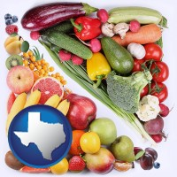 tx map icon and fruits and vegetables