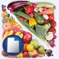 ut map icon and fruits and vegetables