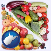 wv map icon and fruits and vegetables