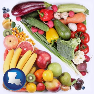 fruits and vegetables - with Louisiana icon