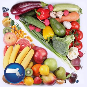 fruits and vegetables - with Massachusetts icon