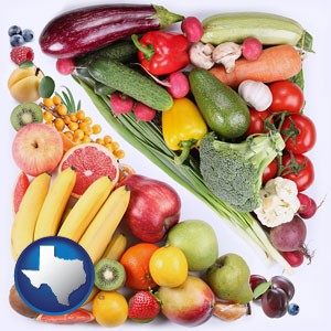 fruits and vegetables - with Texas icon