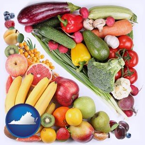 fruits and vegetables - with Virginia icon