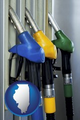 illinois map icon and gasoline pumps