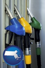 massachusetts map icon and gasoline pumps