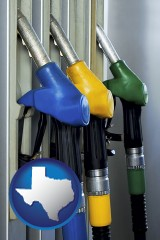 texas map icon and gasoline pumps