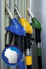 wisconsin map icon and gasoline pumps