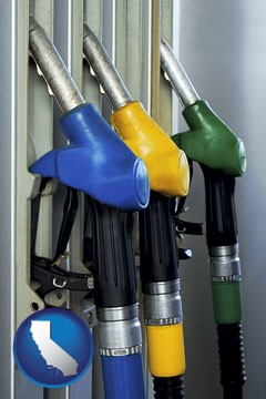 gasoline pumps - with California icon