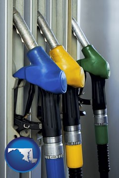 gasoline pumps - with Maryland icon