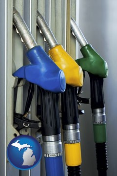 gasoline pumps - with Michigan icon