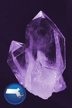 an amethyst gemstone - with Massachusetts icon