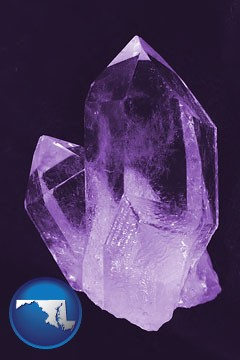 an amethyst gemstone - with Maryland icon