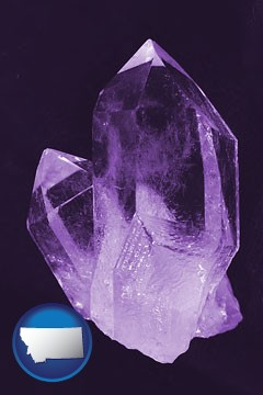 an amethyst gemstone - with Montana icon