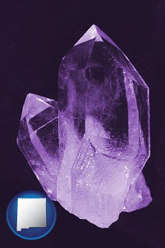 an amethyst gemstone - with New Mexico icon