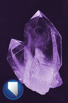 an amethyst gemstone - with Nevada icon