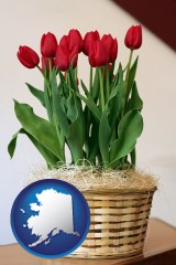 alaska map icon and a gift basket with red tulips