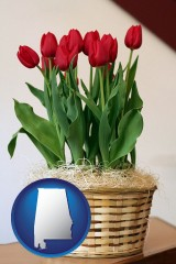 alabama map icon and a gift basket with red tulips