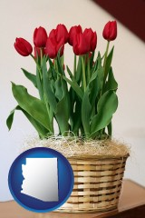 arizona map icon and a gift basket with red tulips