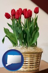 connecticut map icon and a gift basket with red tulips