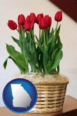 georgia map icon and a gift basket with red tulips
