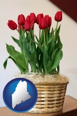 maine map icon and a gift basket with red tulips