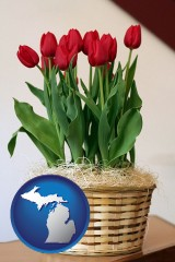 michigan map icon and a gift basket with red tulips