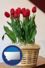 montana map icon and a gift basket with red tulips