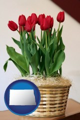 north-dakota a gift basket with red tulips