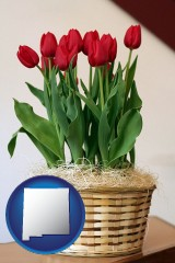 new-mexico map icon and a gift basket with red tulips