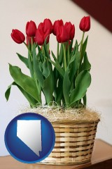 nevada a gift basket with red tulips