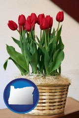 oregon map icon and a gift basket with red tulips