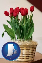 rhode-island map icon and a gift basket with red tulips