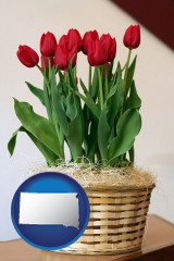 south-dakota map icon and a gift basket with red tulips